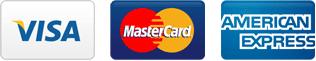 VISA、MasterCard、アメリカン・エクスプレス